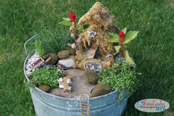 wash tub fairy garden