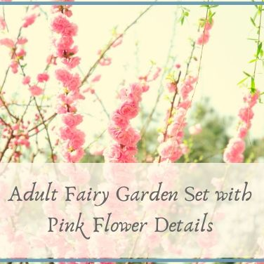 Adult Fairy Garden Set with Pink Flower Details
