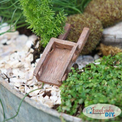 wheelbarrow in washtub fairy garden