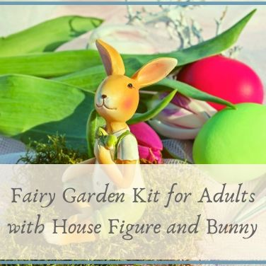 Fairy Garden Kit for Adults with House Figure and Bunny