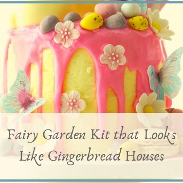 Fairy Garden Kit that Looks Like Gingerbread Houses