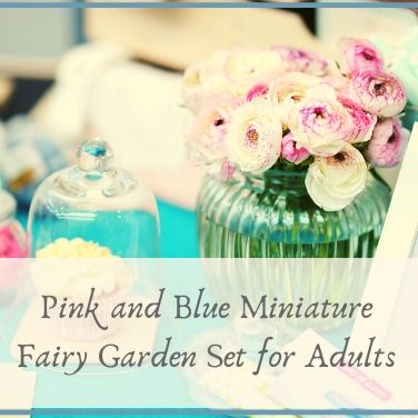 Pink and Blue Miniature Fairy Garden Set for Adults