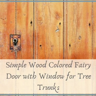 Simple Wood Colored Fairy Door with Window for Tree Trunks