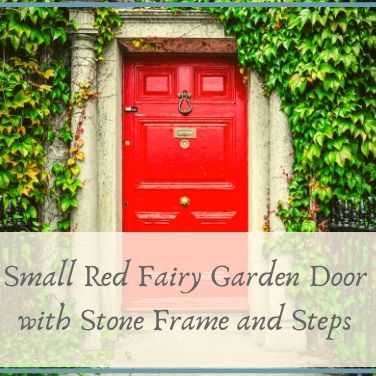 Small Red Fairy Garden Door with Stone Frame and Steps