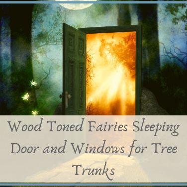 Wood Toned Fairies Sleeping Door and Windows for Tree Trunks