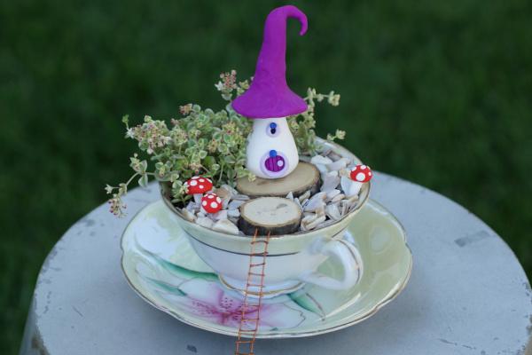 fairy garden in a teacup
