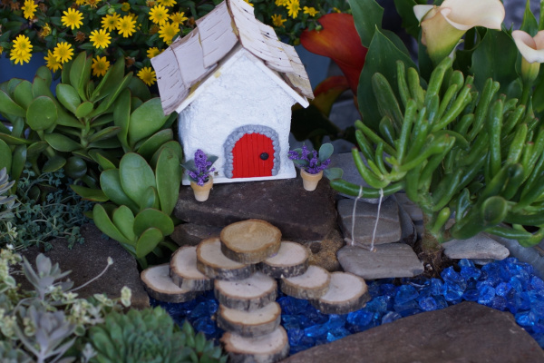 fairy garden with miniature pots of flowers