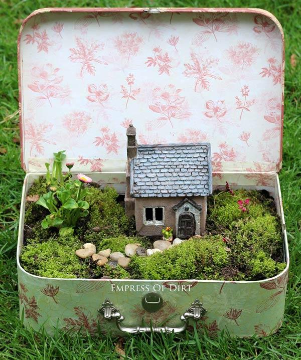fairy garden planter idea: old suitcase