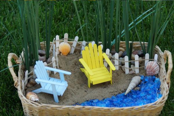 indoor fairy garden in a basket