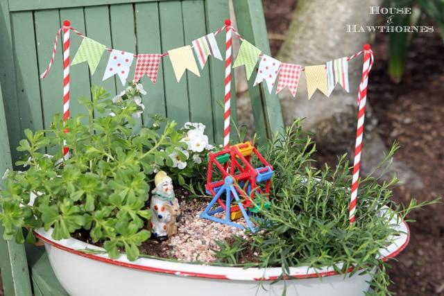 indoor fairy garden container idea: enamel basin