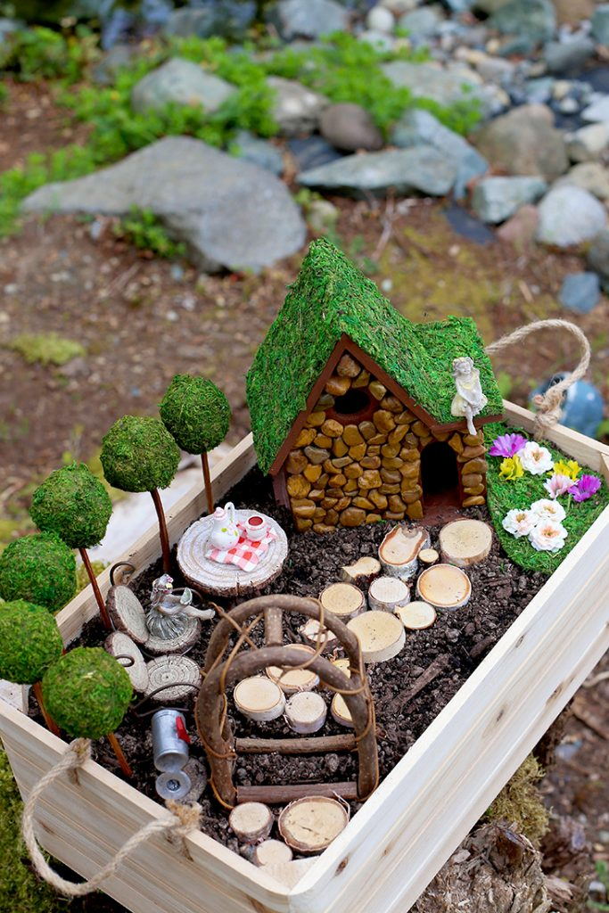 wooden crate as fairy garden container