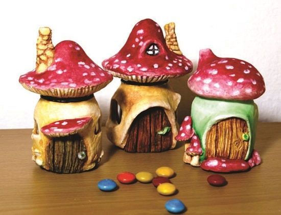 Mushroom Fairy House from a Jar