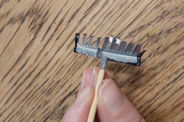 making a mini rake for fairy garden