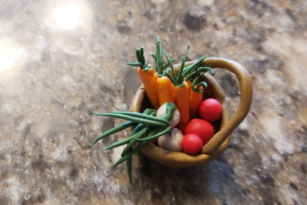 basket of polymer clay veggies for fairy garden