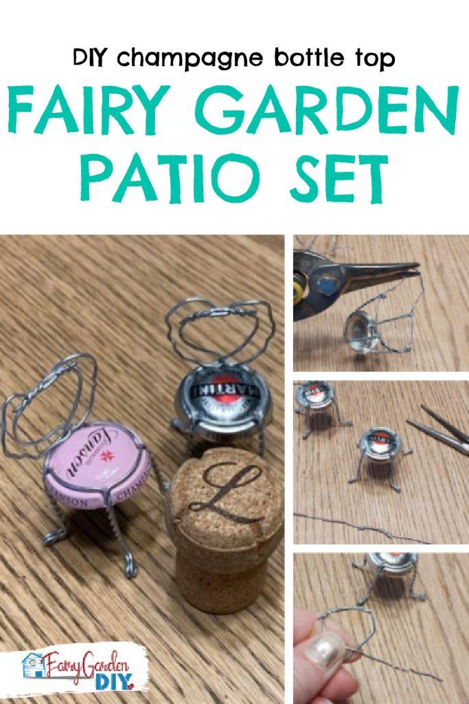 DIY champagne bottle top fairy garden chairs - cute fairy garden idea