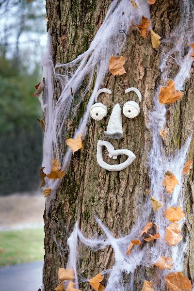 faux spider web as halloween fairy garden decor