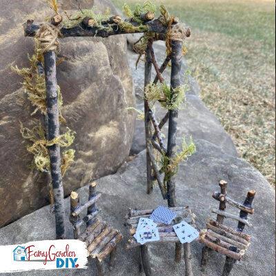 Rustic Twig Arbor for Fairy Garden