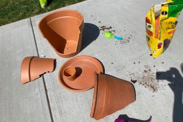 broken pot pieces for making a fairy garden