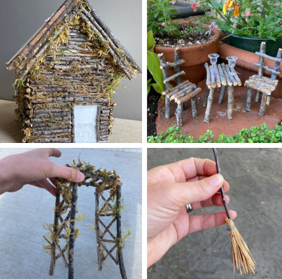 fairy garden supplies from the backyard